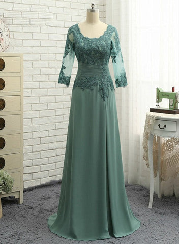 Green Chiffon Long Sleeves Mother of The Bride Dresses, Long Formal Dress Party Dress