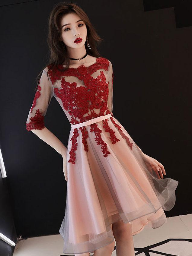 Red and Pink Tulle with Lace Short Sleeves Party Dress, High Low Homecoming Dress
