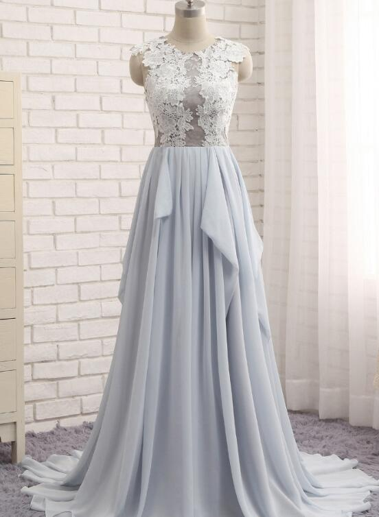 Grey chiffon party dress