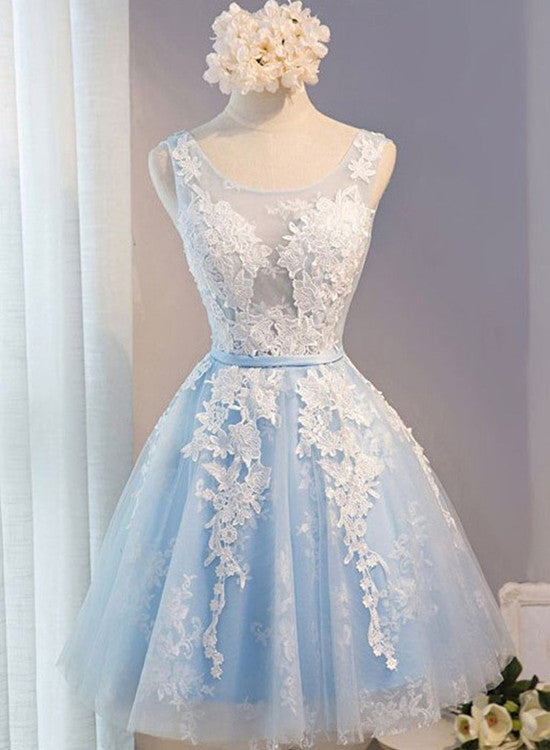 Lovely Light Blue Knee Length Homecoming Dress, Short Prom Dresses 2019