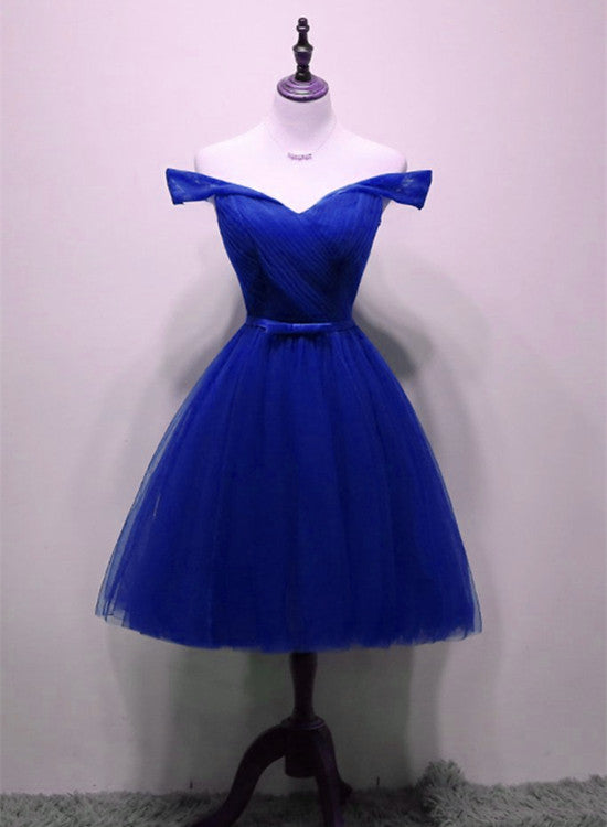 Cute Royal Blue Tulle Simple Party Dress 2019, Lovely Formal Dress, Blue Homecoming Dresses