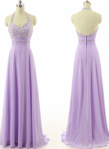 Light Purple Chiffon Sequins Long Junior Prom Dress, Evening Party Dress