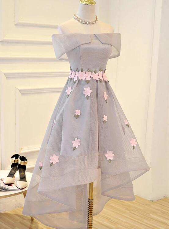 Beautiful Grey High Low Tulle Party Dress, Short Prom Dress 2020