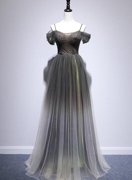 grey gradient long party dress