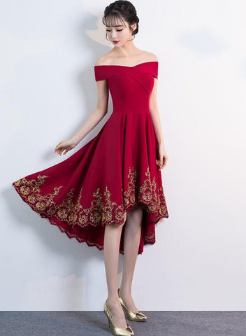 dark red high low party dress