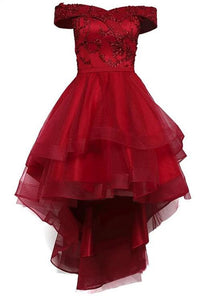 Wine Red Tulle High Low Party Dress, Sweetheart Off Shoulder Homecoming Dress