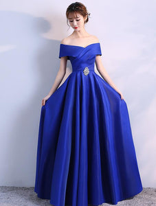 Beautiful Blue Satin Off Shoulder Long Party Gown, Blue Wedding Party Dress