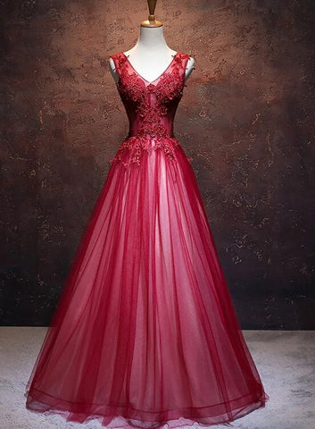 wine red tulle long prom dress 2020
