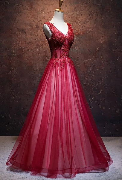 Lovely Wine Red V-neckline Tulle Party Gown, A-line Prom Dress