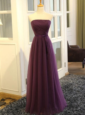 Beautiful Purple Tulle Long Prom Dress 2020, A-line Party Gowns