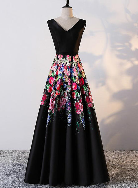 Black Floral Satin V-neckline Long Party Dress, Black Formal Dress