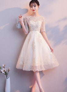 Lovely Champagne Lace Tulle Round Neckline Party Dress, Short Homecoming Dress