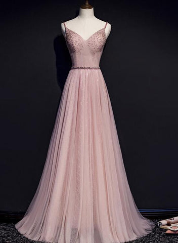 Pink V-neckline Beaded Tulle Prom Dress 2020, Party Gown