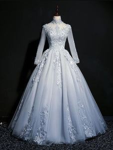 Beautiful Grey A-line Long Sleeves with Lace Party Gown, Sweet 16 Dress