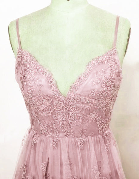 Elegant Pink V Back Straps Lace Party Dress, Pink Wedding Party Dress