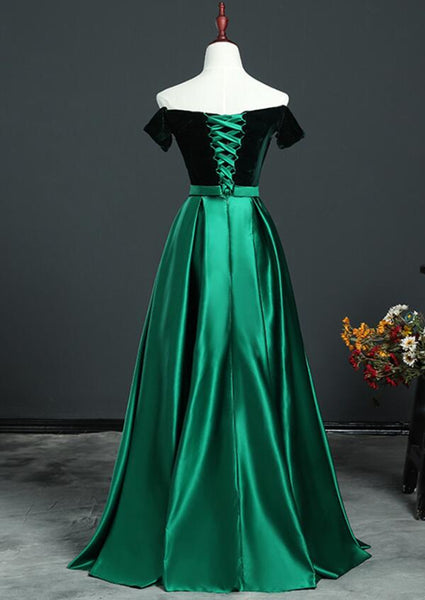 Beautiful Green Velvet and Satin Off Shoulder Party Dress, Long Prom Dress