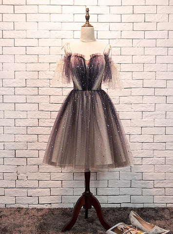 Cute A-line Tulle Knee Length Off Shoulder Party Dress, Short Homecoming Dress