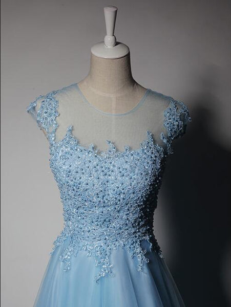 Lovely Blue Tulle Cap Sleeves Long Lace Applique Party Dress, New Blue Prom Dress