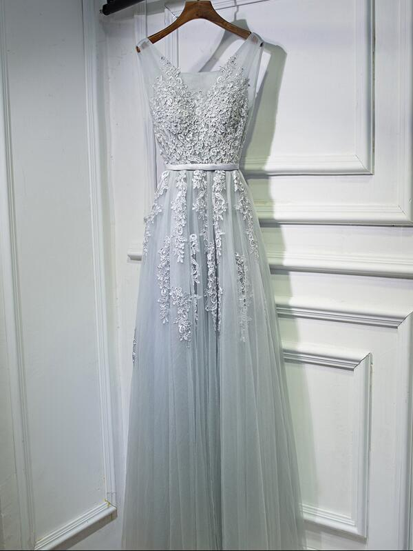 Charming Grey Tulle Long Party Dress, A-line Prom Dress 2020