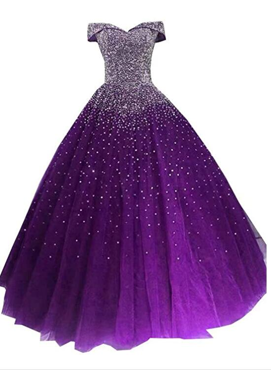 Glam Sequins Off the Shoulder Ball Gown Sweetheart Gowns, Quinceanera Dress