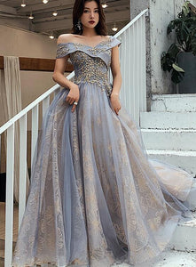 Off Shoulder Tulle Long Party Dress, A-line Sweetheart Prom Dress