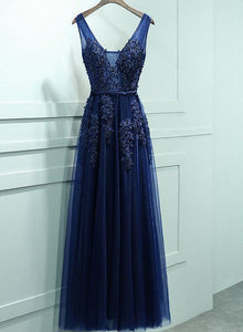 Navy Blue V Back Tulle with Lace Long Bridesmaid Dress, Blue Evening Gown