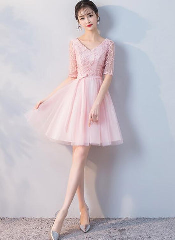 Cute Light Pink Tulle Short Homecoming Dress, V-neckline Prom Dress