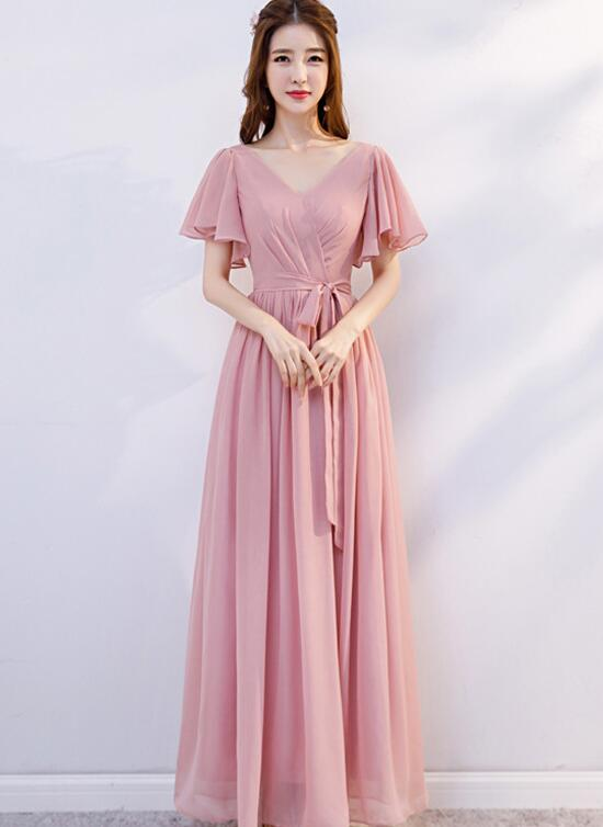 Beautiful Pink Chiffon Long Briesmaid Dress, A-line Party Dress Evening Gown