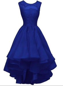 Beautiful Royal Blue High Low Organza Round Neckline Party Dress, Homecoming Dress