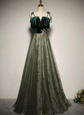 Beautiful Green Tulle Long Evening Gown, Velvet Top Party Dress 2020