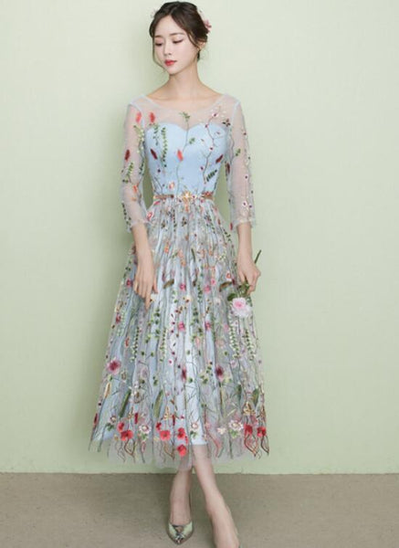 Light Blue Tea Length Lace Floral Wedding Party Dress, Beautiful Formal Dress