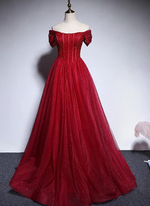 Fashionable Red Off Shoulder Beaded Floor Length Party Dress, Red Sweet 16 Gown