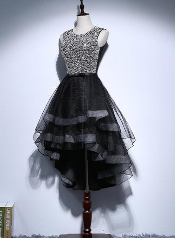 Sexy Black Sequins Tulle High Low Party Dress, Black Short Prom Dress