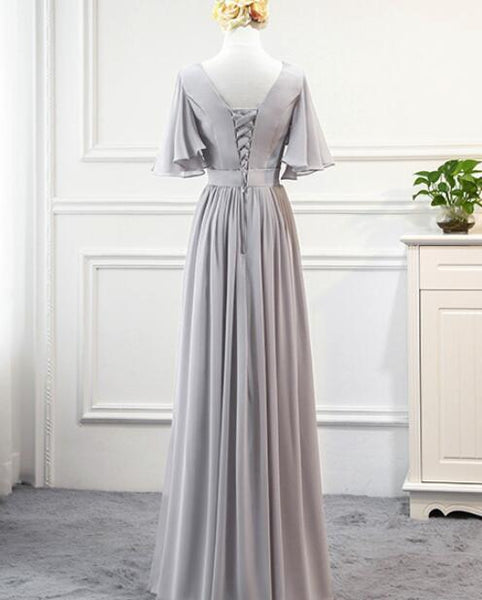 Off Shoulder Simple Grey Chiffon Long Formal Dress, Grey Bridesmaid Dress 2019