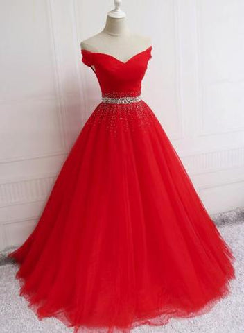 Beautiful Red Tulle Off Shoulder Long Formal Gown 2019, Red Sweet 16 Dresses