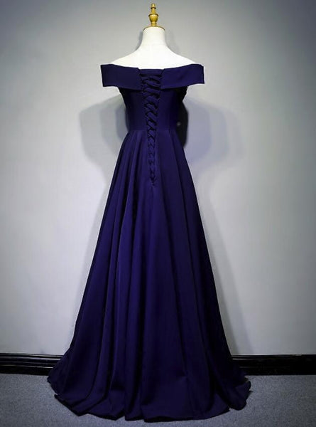 Beautiful Navy Blue A-line Spandex Long Prom Dress, Off Shoulder Bridesmaid Dress