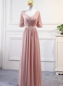 pink chiffon long party dress 2020