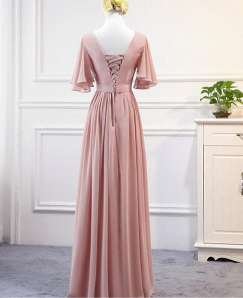 Lovely Pink Chiffon Long Party Dress 2020, Pink A-line Bridesmaid Dress