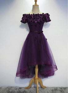 Stylish Dark Purple High Low Formal Dress 2019, Cute Party Dresses, Purple Homecoming Dress 2019
