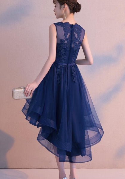 Adorable Navy Blue High Low Round Neckline Homecoming Dress, Short Prom Dress