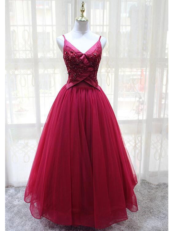 Wine Red Straps Tulle V-neckline Elegant Party Dress, Beautiful Prom Dress 2019