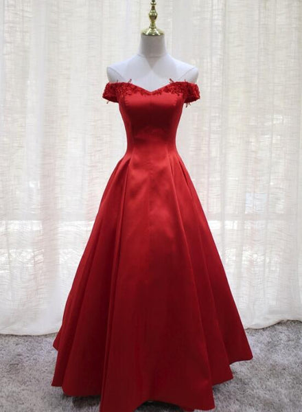 Red Satin Vintage Style Off Shoulder Party Dress 2019, Charming Formal Gowns