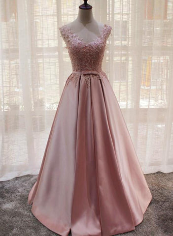 Charming Pink Satin Long Formal Gown, Prom Dress 2019, Lovely Satin Party Dress