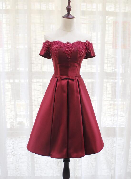 Red Satin Off Shoulder Cute Homecoming Dress, Lovely Handmade Party Dress 2019