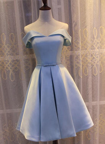 Light Blue Off Shoulder Satin Bridesmaid Dress, Blue Short Formal Dress 2019