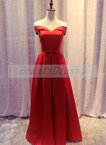 Simple Red Satin Off Shoulder Floor Length Wedding Party Dress, Red Party Dress 2019