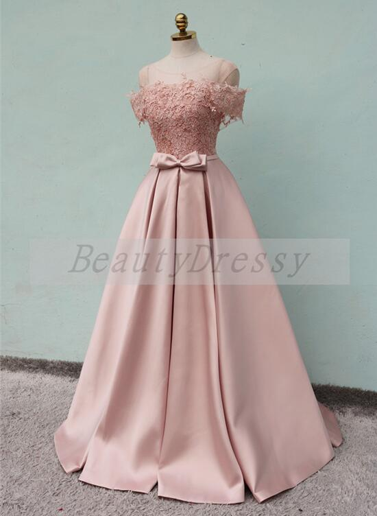 Pink Off Shoulder Lace and Satin Long Formal Gown, Handmade Party Dress 2019