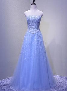 Light Blue Elegant Sparkles Prom Dress, Long Junior Prom Dress 2019, Party Dress 2019