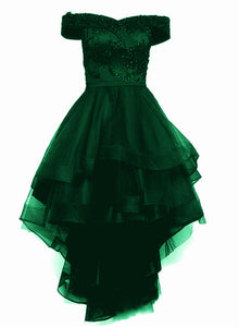 Fashionable Dark Green High Low Tulle with Lace Homecoming Dress, Green Party Dresses