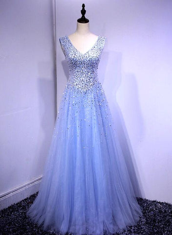Beautiful V-neckline Light Blue Floor Length Party Dress 2019, Blue Sparkle Formal Dress